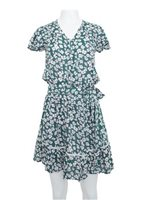 Angels by the Sea Green Rayon Floral  Waist Tie Dress