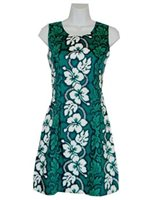 KY'S Hibiscus Lei Green Cotton Tank Dress