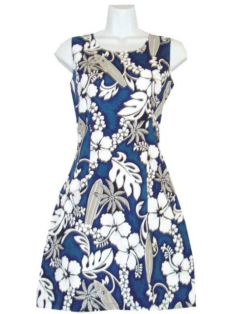 d0f1cd72ace KY'S Surfboard Hibiscus Navy Blue Cotton Tank Dress | AlohaOutlet