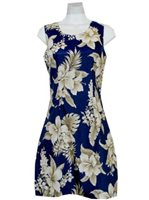 KY'S Wonder Hibiscus  Navy Blue Cotton Tank Dress