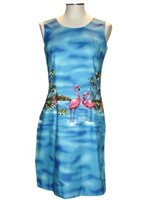 KY'S Flamingo Border Design Navy Blue Cotton Tank Dress