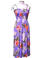 KY'S Hibiscus Purple Rayon Tube Dress