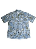 KY'S Vintage Outrigger  Blue Cotton Men's Hawaiian Shirt