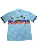 KY'S Muscle Car Paradise Light Blue Cotton Men's Hawaiian Shirt