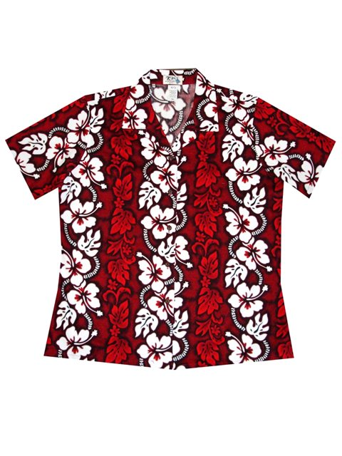 eefe2234f5 KY'S Hibiscus Lei Red Cotton Women's Hawaiian Shirt | AlohaOutlet