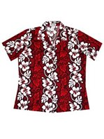 KY'S Hibiscus Lei Red Cotton Women's Hawaiian Shirt