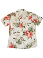 KY'S Hibiscus and Orchid White Cotton Women's Hawaiian Shirt