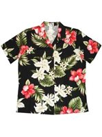 KY'S Hibiscus and Orchid Black Cotton Women's Hawaiian Shirt