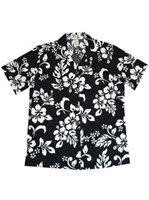 KY'S Classic Hibiscus Black Cotton Women's Hawaiian Shirt