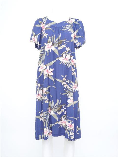 Two Palms Pali Orchid Blue Rayon Hawaiian Midi Muumuu Dress