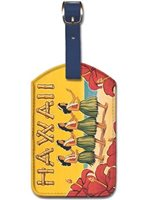 Kerne Erickson Hawaii Hula Dancers Vintage Hawaiian Art Leatherette Luggage Tags