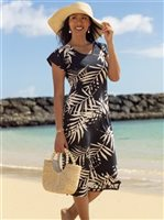 Vermilli Hawaii Devynn  Palm Noir Women's Midi Dress