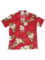 KY'S Classic Orchid Red Cotton Women's Hawaiian Shirt