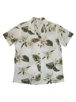 KY'S Classic Orchid White Cotton Women's Hawaiian Shirt
