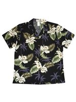 KY'S Classic Orchid Black Cotton Women's Hawaiian Shirt