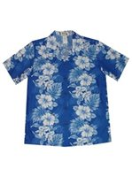 KY'S Floral Lei Navy Blue Cotton Women's Hawaiian Shirt