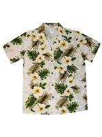 KY'S Hibiscus Panel White Cotton Women's Hawaiian Shirt