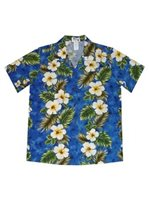 KY'S Hibiscus Panel Navy Blue Cotton Women's Hawaiian Shirt