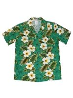 KY'S Hibiscus Panel Green Cotton Women's Hawaiian Shirt