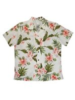 KY'S Hibiscus Garden White w/Coral Cotton Women's Hawaiian Shirt
