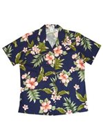 KY'S Hibiscus Garden Navy Blue w/Coral Cotton Women's Hawaiian Shirt