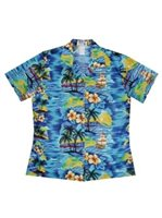 KY'S Classic Discovery Navy Blue Cotton Women's Hawaiian Shirt