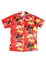 KY'S Classic Discovery Red Cotton Women's Hawaiian Shirt