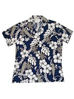 KY'S Hibiscus and Surfboard Navy Blue Cotton Women's Hawaiian Shirt