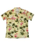 KY'S Flamingo Fever Yellow Cotton Women's Hawaiian Shirt
