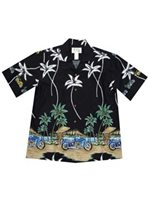 KY'S Motorcycle Beach Black Cotton Poplin Men's Hawaiian Shirt