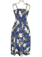 KY'S Classic Orchid Navy Blue Cotton Tube Dress