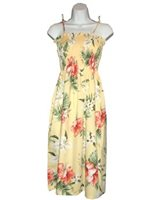 KY'S Orchid & Hibiscus  Yellow Cotton Tube Dress