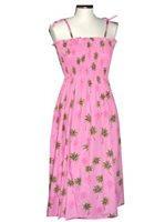 KY'S Little Plam Tree Pink Cotton Tube Dress
