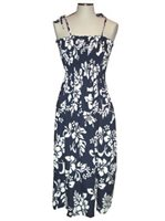 KY'S Classic Hibiscus Navy Blue Cotton Tube Dress