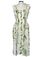 KY'S Tropical Monstera White Cotton Tube dress