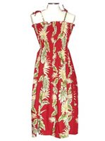 KY'S Tropical Monstera Red Cotton Tube dress