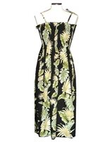 KY'S Tropical Monstera Black Cotton Tube dress