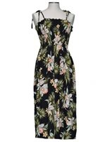KY'S Orchid Garden Black Rayon Tube dress