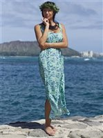 Coral of the Sea Palm Groove Green Polyester Pali Maxi Dress