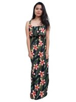 Coral of the Sea Plumeria Leaf Black Polyester Pali Maxi Dress