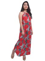 Coral of the Sea Hibiscus Palm Red Polyester Gia Maxi  Dress