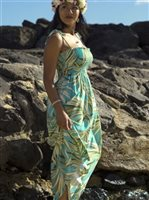 Palm Green Rayon Hawaiian Summer Maxi Dress
