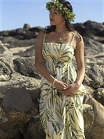 Palm Cream Rayon Hawaiian Summer Maxi Dress