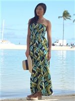 Banana Leaf Navy Rayon Hawaiian Summer Maxi Dress