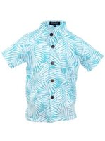 Coral of the Sea White Fern Aqua Blue Polyester Boy's Hawaiian Shirt