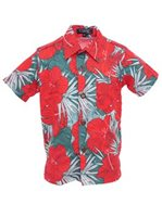 Coral of the Sea Hibiscus Palm Red Polyester Boy's Hawaiian Shirt