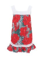 Coral of the Sea Hibiscus Palm Red Polyester Girls Hawaiian Dress