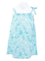 Coral of the Sea White Fern Aqua Blue Polyester Girls Hawaiian Dress