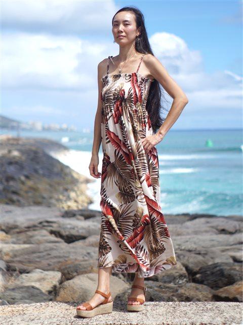 Tropica Garden Cream Rayon Hawaiian Summer Maxi Dress