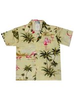KY'S Flamingo Fever Yellow Cotton Poplin Boy's Hawaiian Shirt